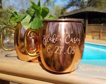 Set of TWO Etched Copper Moscow Mule Mugs