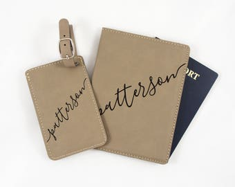 Personalized Luggage Tag and Passport Cover Set - Passport Holder - Leatherette Bag Tag - Custom Wedding Gift - Business Gift - Birthday