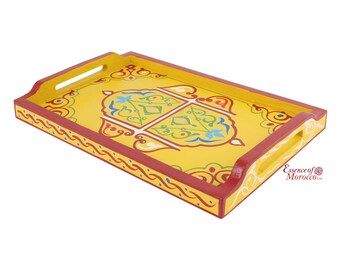 Moroccan Serving Tray Wood Handmade Hand painted Yellow Limited Edition (Ref. SWT7)