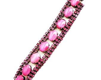 Pink Milkglass Satin Ovals and Rhinestones Bracelet