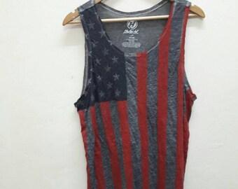 Sale!! Vintage USA Flag tank Top surf sport hip hop swag rapper skate Medium size