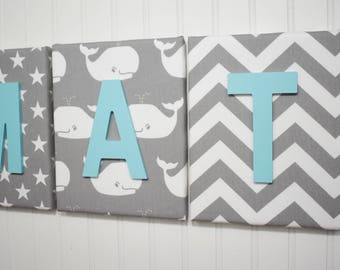 Nautical Nursery Letters, Whales, Stars Chevron, Nursery Wall Letters, Nursery  Decor, Nursery Wall Decor, Nursery Decor, Baby Wall Decor