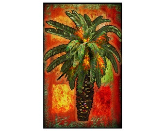 "Fine art print ""Palm Tree"", Mounted and ready to hang or frame, 10 by 16 inches. Plus fast and free shipping"
