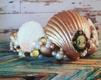 Mermaid crown tiara costume rose gold cameo goddess headpiece