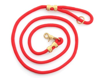 Ruby rope dog leash // Red marine rope lead // Strong dog leash // Unique pet leash with brass hardware // 4' or 6' length