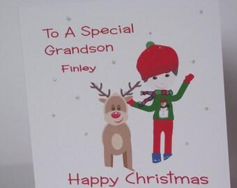 Lovely Personalised Handmade Little Boy & Reindeer Christmas  Card. Grandson, Son, Brother, Nephew, Godson, Friend etc.