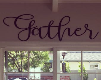 Gather Sign, Farmhouse Decor, Gather Wood Signs, Wall Decor, Unfinished Word Cutout, Word Cutouts, DIY Words, Word Cut Out, Mothers Day Gift