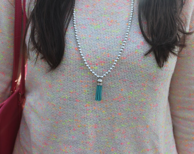 Silver and Green Tassel Necklace