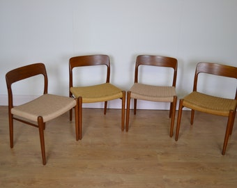 Danish mid century dining chairs with paper cord seats by MOLLER