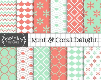 Coral and Mint Digital Paper, Chevron Scrapbook Paper, Scallop, Fish Scale, Floral, Instant Download, Commercial Use