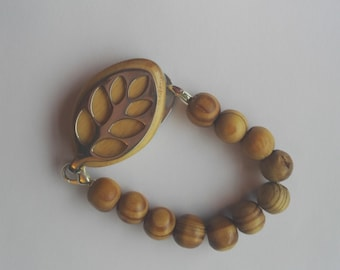 Bellabeat leaf bracelet wooden bead bracelet to wear with Bellabeat Leaf, elasticated or on a wire, bellabeat anklet