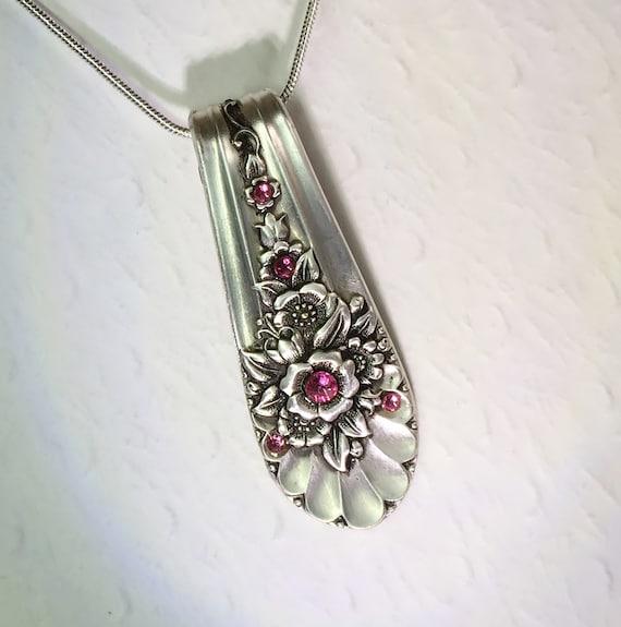 Spoon Necklace, 'Jubilee' 1953, Rose Pink Swarovski Crystals, Spoon Jewelry