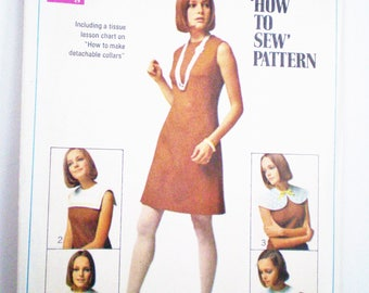 Retro 1960s Dress Pattern Simplicity 8060 Size 12 Bust 34 - How to Sew, UNCUT, detachable collar, sleeveless, collarless, fitted,back zipper