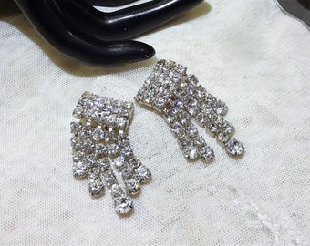 Vintage Sparkly Rhinestone Dangle Earrings
