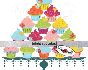 Bright Cupcakes: Digital Clip Art Pack (300 dpi) Digital Images (png format, transparent background) Cupcake Clipart Birthday Cake Stand