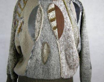 Nature Sweater Size Medium Browns Leaves Mariea Kim Acrylic Wool Blend Shimmer Appliqués Turtleneck Long Bat sleeve