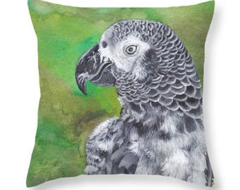 African Grey Parrot Pillow