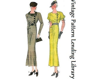 1930s Ladies Day Dress with Left Closure - Reproduction Sewing Pattern #T1367
