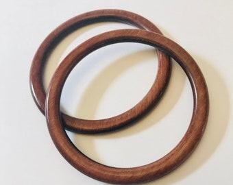 Set of 2 Bakelite Amber Wood Look Bracelets
