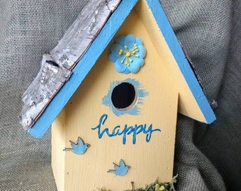 Michigan made yellow bird house with a birch roof. Sturdy, hand-painted and affordable! We ship fast!