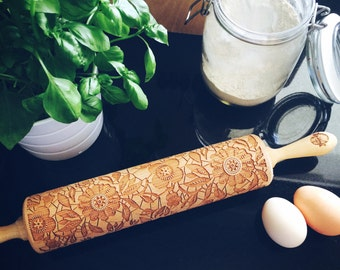 FLOWERS rolling pin, embossing rolling pin, engraved rolling pin by laser