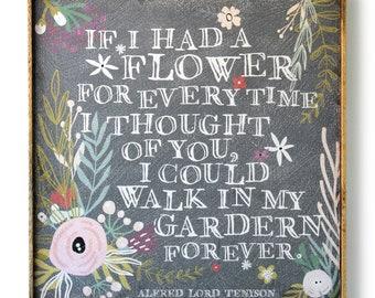 Flower Garden Print Tennyson Poem Mothers Day Gift Floral Art Boho Art Love Art Rustic Home Decor Flower Wall Art Bedroom Decor Wedding Gift