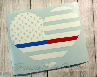 Thin Red Blue Line Flag Heart Fireman Firefighter Police LEO Decal Sticker Cling - Window - Car - Cup - Laptop - Computer - Tablet - Tumbler