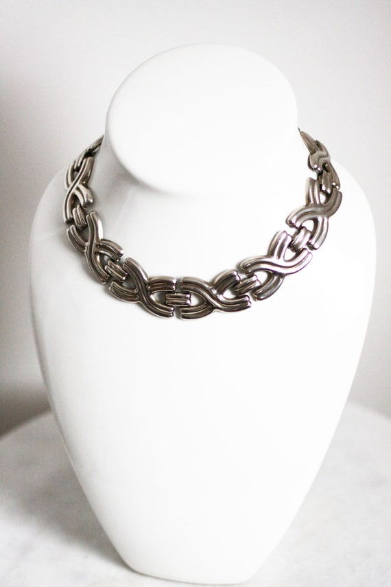 1960s silver x's choker necklace // 1980s silver chain // vintage jewellery