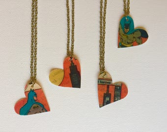 Comic Book Necklace, Batman Heart Necklace, Graphic Novel Jewelry, Gift for Comics Fan, Friendship Superhero Necklace, Recycled Book Pages
