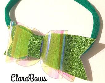 Green fairy hair bow