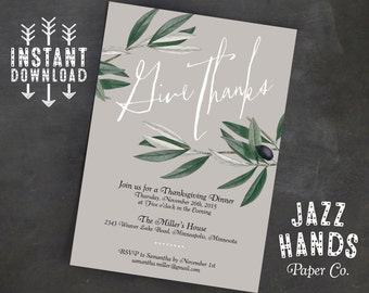 Thanksgiving Invitation Template | DIY Printable | Thanksgiving Feast | Thanksgiving Dinner Invite | Thanksgiving Party