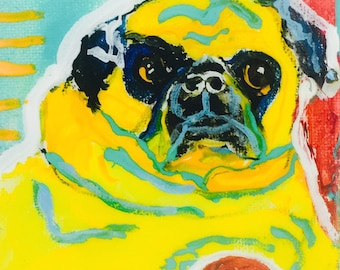 Love for a Pug coasters set of 4 from my original pug painting