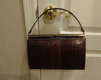 Vintage Vassar Genuine Alligator Brown with gold hardware Handbag/Purse