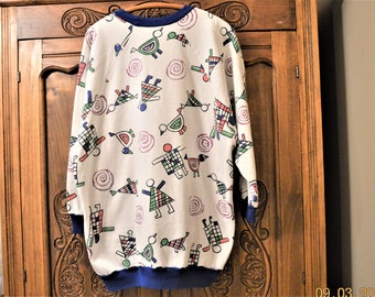 """80's Batwing Sweatshirt,Pop Art Abstract Birds People,up to a 50"""" Chest,Cartoon Character ,Statement Piece,Above Average Print,Plus Size"""