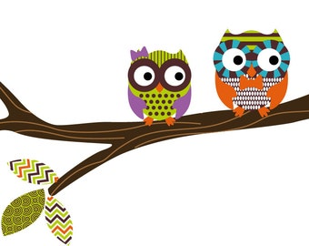 children's decals- Tree branch decal- vinyl decals- owl tree branch- Nursery decals- wall decals-