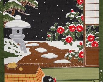 Cat Fabric Panel Japanese Furoshiki 'Tama the Cat on a Snowy Night' Cotton Green, Red, Black and Brown 50cm w/Free Insured Shipping