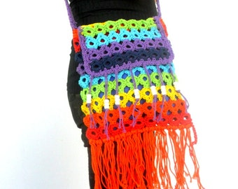 Colorful Bag, Hippie Bag, Beach Bag, Crochet Bag, Rainbow bag, Bohemian Bag, Gift For Her, Festival bag, cross body bag, Women Purse
