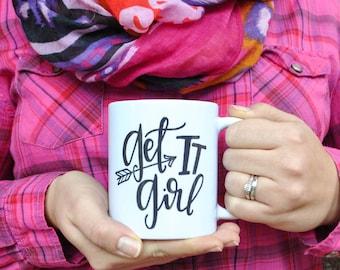 get it girl coffee mug // motivational coffee mug // inspirational coffee mug // gift for her // boss lady gift // midcentury modern