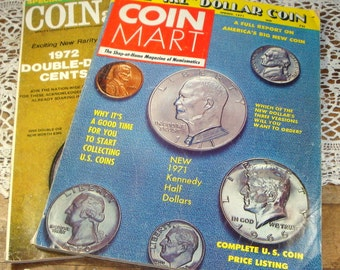 1970's Coin Collectors Magazines, Coinage, Coin Mart, Numismatics, Peace Dollar, Double-Die Cents, Ike Dollar, Kennedy Half Dollar  (614-14)