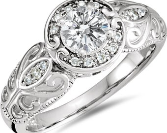 1/2CT Diamond Vintage Antique Style Engagement Ring 10K White Gold Halo