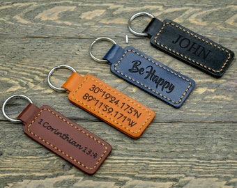 Personalized Leather Keychain/Father's day Keychain/Custom Coordinates Keychain/ Gift for Father / First Home Gift/ Father's day Gift  -KC02