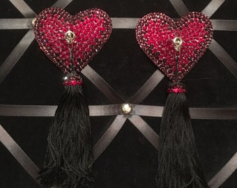 Special Order for Abbey Leigh Heart-shaped Rhinestone Burlesque Pasties with Chainette Tassels