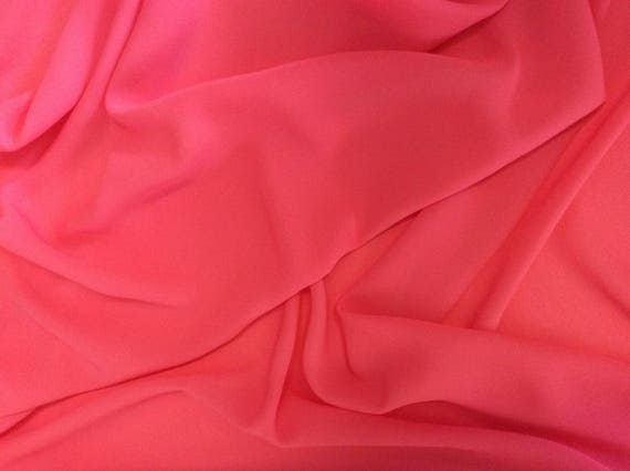 High quality Faux Silk Chiffon, very close to genuine silk chiffon. Pink Coral No18