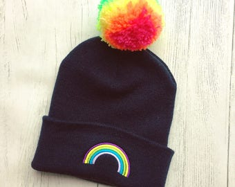 Childs rainbow pom pom bobble hat - embroidered -beanie - colourful - winter hat - kids - cute- bright - multicolour