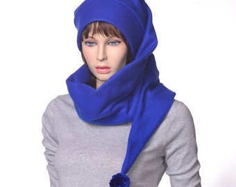 Extra Long Stocking Cap Royal Blue Wrap Around Scarf Hat 5  Tail Hat with Pompom Fleece