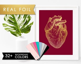 Medical Student Heart Anatomy Medical Real Gold Foil Art Print  Graduation Gift