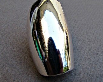 Spoon Ring, Sterling Silver, White Metal Spoon Ring, Full Finger Ring, Upcycled Ring