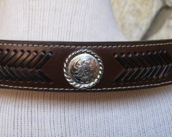 Vintage Western Belt-Woven and Silver trim