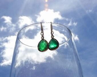 Green Chalcedony Earrings