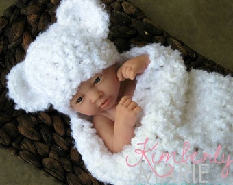 Newborn Cocoon and Teddy Bear Hat in White Clouds